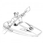 Action man riding his canoe coloring page