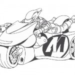 Action man riding his motocycle coloring page