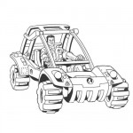 Action man riding his vehicle coloring page