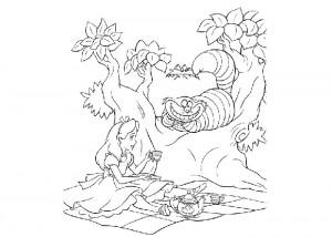 Alice in wonderland coloring sheets