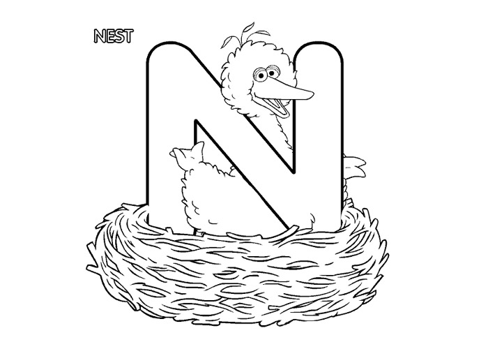 Alphabet N Coloring Page Coloring Pages