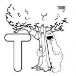 Alphabet T coloring page