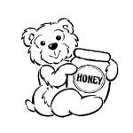 Baby bear honey pot coloting sheet