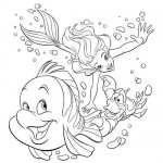 Little Mermaid and Sebastian coloring pages