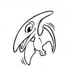 Preistoric bird coloring page