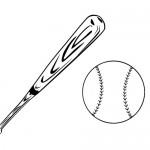 Baseball ball and bat coloring page