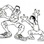 Basketball players coloring page