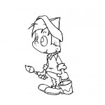 Boy painting coloring page