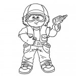 Boy playing coloring page