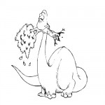 Dinosaur eating tree coloring page