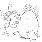 Easter bunny painting coloring page