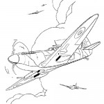 Fighterplane coloring page