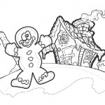Gingerbread man house coloring page