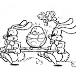 Happy Easter bunnies coloring page