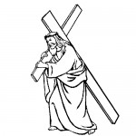Jesus and cross coloring page