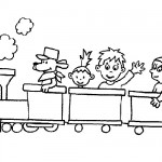 Kids train coloring page
