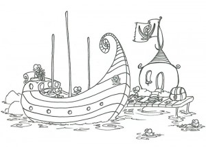 Monkey pirates loading a treasure chest coloring page