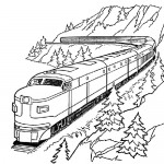 Mountain train coloring page
