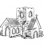 Old church coloring page