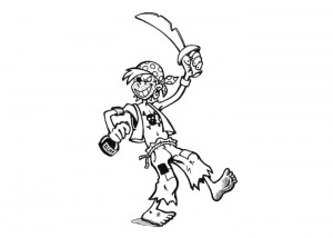 Pirate costume coloring page