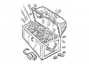 Pirate gold chest coloring page