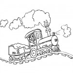 Running train coloring page