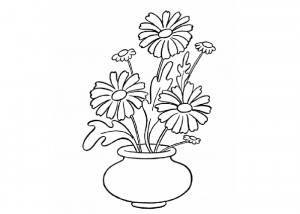 Simple flowers coloring page
