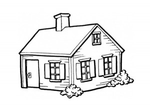 Small house in the village coloring page