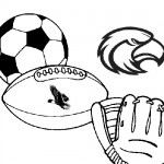 Sports equipment coloring page