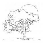 Spring tree coloring page