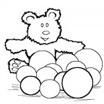 Teddy with balls coloring page