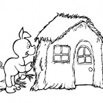 Three little pigs house coloring page