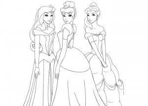 Three princesses coloring pages