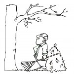 Tree falling leaves coloring page