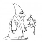 Wizard with dragon coloring page