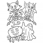 Halloween monsters mask coloring page