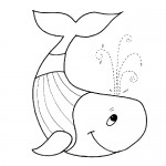 Baby whale coloring pages for kids