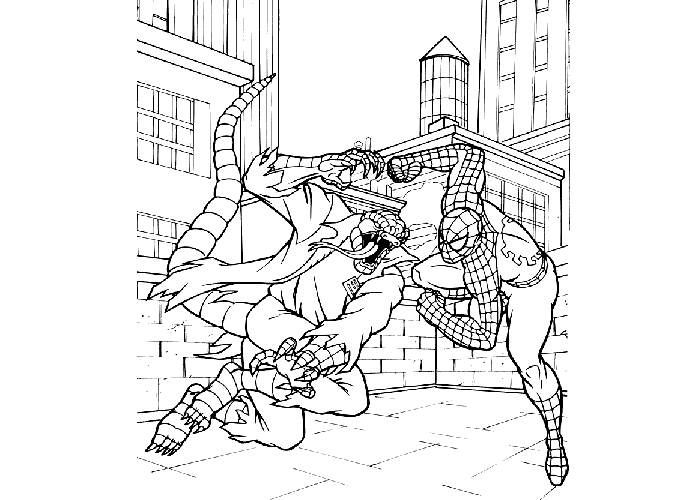 Spiderman fight coloring pages
