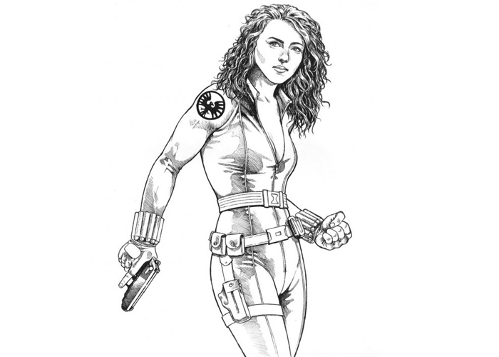 Black widow coloring pages